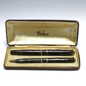 Vintage Parker Striped Duofold Vacumatic Fountain Pen & Pencil Set - Dusty Red