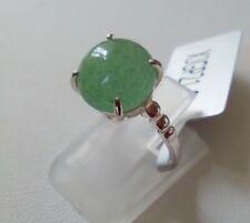 Emerald Green Aventurine Quartz Sterling Silver Ring Size L- Certified