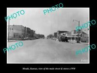 OLD LARGE HISTORIC PHOTO OF MEADE KANSAS, THE MAIN STREET & STORES c1950