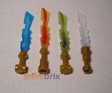 4x lego élémentaire épées ice, feu, terre (bleu, rouge, vert, clair) pour ninjago