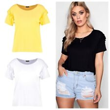 Womens Ladies Plus Size Boohoo Style Summer Terri Shoulder Frill Tee Top - G1029
