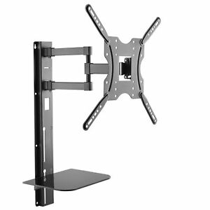 "Full Motion Wall TV Bracket Mount with Shelf 32"" - 55"" inch Adjustable 30kg UK"