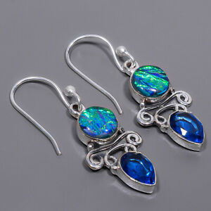 """Triplet Fire Opal & Blue Topaz Handmade 925 Sterling Silver Earring 1.56"""" E14-23"""