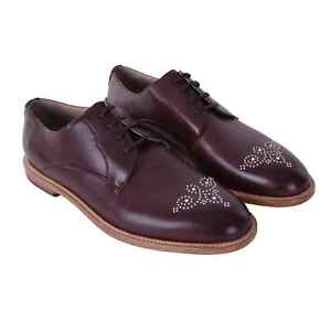 Dolce & Gabbana Derby Shoes Marsala with Rivets Braun Silver Shoes Brown 05898
