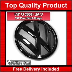 FOR VW T5 T5.1 TRANSPORTER CARAVELLE 2003-2015 130MM GLOSS BLACK REAR BADGE