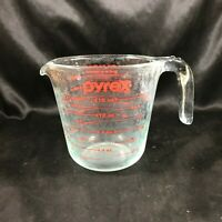 Vintage PYREX 2 Cup Measuring Cup Pitcher Red Letter Blue Tint Open Handle