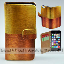 Wallet Phone Case Flip Cover for Apple iPhone 5 5S - Copper Bronze Gold Print