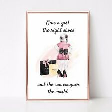give girl shoes print can conquer world a4 wall art picture gift 15 unframed