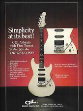 1987 G&L Invader guitar w/ Vibrato Fine Tuners designed by Leo Fender ad print