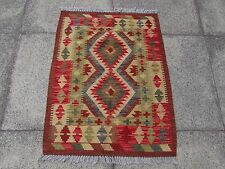 Kilim Old Traditional Hand Made Afghan Oriental Kilim Red Green Wool 90x69cm