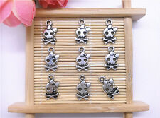 Wholesale 20pcs Tibet Silver Bow Skull Charm Pendant Beaded Jewelry 100