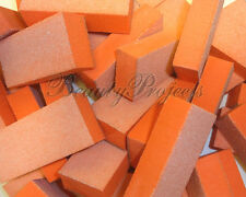 (1000pcs) 2 sided 80/80 white Grit orange Sanding Mini Small Buffer Blocks NEW!