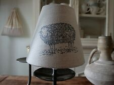 NEW CANDLE LAMPSHADE IN GORGEOUS EMILY BOND JACOB SHEEP DESIGNER FABRIC LINEN
