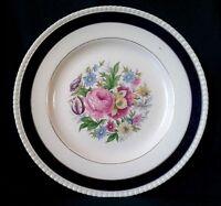 SIMPSONS SOLIAN WARE ARGYLL DINNER PLATE IRONSTONE DINING PLATE COBALT BLUE RIM