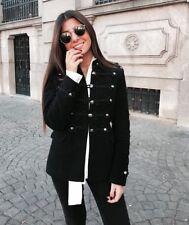 Zara Black Velvet Moleskin Toggle Jacket Military Style Size S UK 8