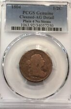 1804 Plain 4 No Stems Draped Bust Half Cent 1/2C AG Detail
