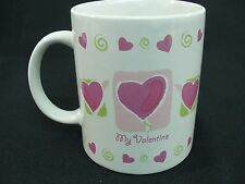 My Valentine Coffee Mug White Pink Hearts Green Swirls Just For You 10 oz. Cup