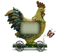 Rooster Photo Frame Country Picture Holder Farm Chicken Wheels Cart Large 4 x 6