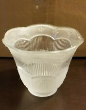"""2 1/4"""" Fleur-De-Lis Etched Clear and Frosted Fitter Glass Fixture Lamp Shade NEW"""