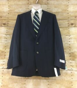 Vtg 80s Members Only Blazer Jacket 42R Navy Blue Wool Blend 2 Button Dual Vent