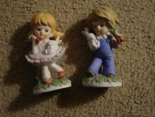 Home Interiors Boy & Girl With Rabbit Figurine Set-Used