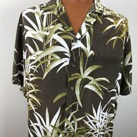 Kalaheo Hawaiian Aloha Camp Shirt Large Palm Trees Tropical USA Brown Green