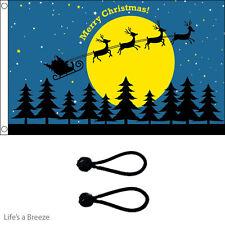 Christmas Flag.Xmas MOON 5x3ft Poles Or Windsocks Poles.With FREE BALL TIES