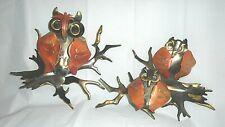 """2 piece Owl Bird Metal Wall Art Sculpted Hanging Décor Lawn Garden Art 9""""X7"""" ea"""