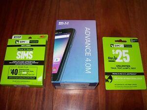 Reduced NEW $25 Sim Card & BLU GSM Advance 4M, 4GB Memory Smart Phone (Unlocked)