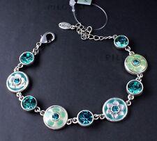PILGRIM Bracelet BLING FLOWER Turquoise Blue Swarovski & Vintage Silver BNWT