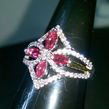 RUBY RED CREATED SAPPHIRE DRESS RING DIAMOND SHAPED + FLOWER SIZE R