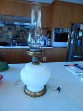 Vintage Milk Glass Hurricane Gone with the Wind Table Lamp Art Deco