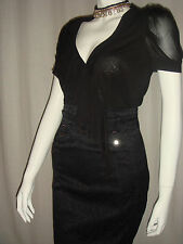 Karen Millen Black Sheer Top Grey Leopard Work Dress UK 8