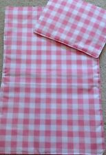 Dolls Pram/Cot Reversible Bedding Set Pink And White Check