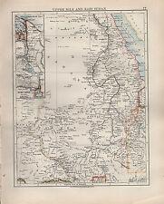 1904 ANTIQUE MAP ~ UPPER NILE & EAST SUDAN ~ KORDOFAN INSET SUEZ CANAL PORT SAID