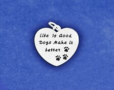 Dog Charm Pendant Sterling Silver Pl Life is Good Better Paw Prints Jewelry Paws
