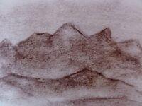 ALBERT WALLAT (1917-1997) Kohlezeichnung Berge / Landschaft / Gebirge