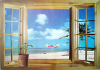 Large 3D Window Beach Sea View Wall Stickers Removable Art Decal Mural Wallpaper