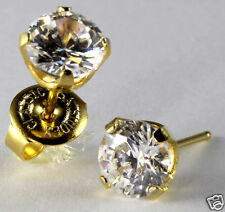 "Ear Piercing Earrings Gold 6mm Clear CZ Cubic Zirconia Studs ""Studex System 75"""