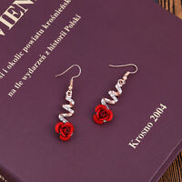 Fashion Women Lovely Crystal Red Rose Flower Dangle Drop Earrings Party Jewelry