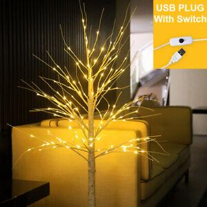 LED Christmas Birch Tree Pre Lit Twig Light USB Power Home Decor Indoor Outdoor
