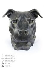 American Staffordshire Terrier uncropped,dog head urn made of Resin, ArtDog, Usa