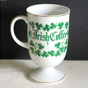 IRISH COFFEE 10 oz Pedestal Mug Ireland Blessing Shamrocks Gold Trim FREE SH