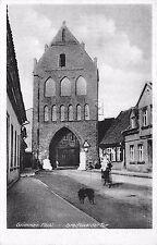 AK Grimmen Meckl. Greifswalder Tor Mädchen mit Fahrrad Hund Strasse Postkarte