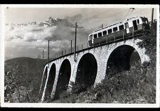 LEYSIN (SUISSE) TRAIN sur PONT-VIADUC & DENTS de MIDI, période 1950