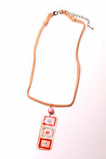 RETRO VINTAGE INSPIRED PEACH FUNKY HIPPY STONE GLITTER NECKLACE(ZX12)