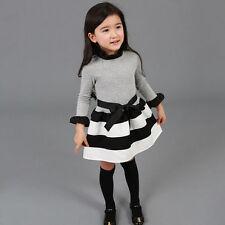 Toddler Kids Girls School Long Sleeve Tutu Skirt Party Princess Dress Clothes