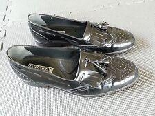 Dino Bigioni Black Leather Wingtips Slip On Loafers Shoes Men's Size 9 M