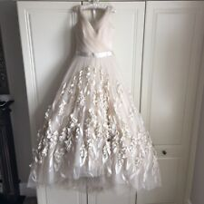 Bespoke Suzanne Neville 1950s esq French tulle, tea length wedding gown
