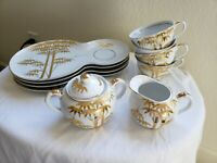 VERY RARE - VTG  Porcelain Snack Plate Set w/Lidded Sugar Bowl & Creamer Japan